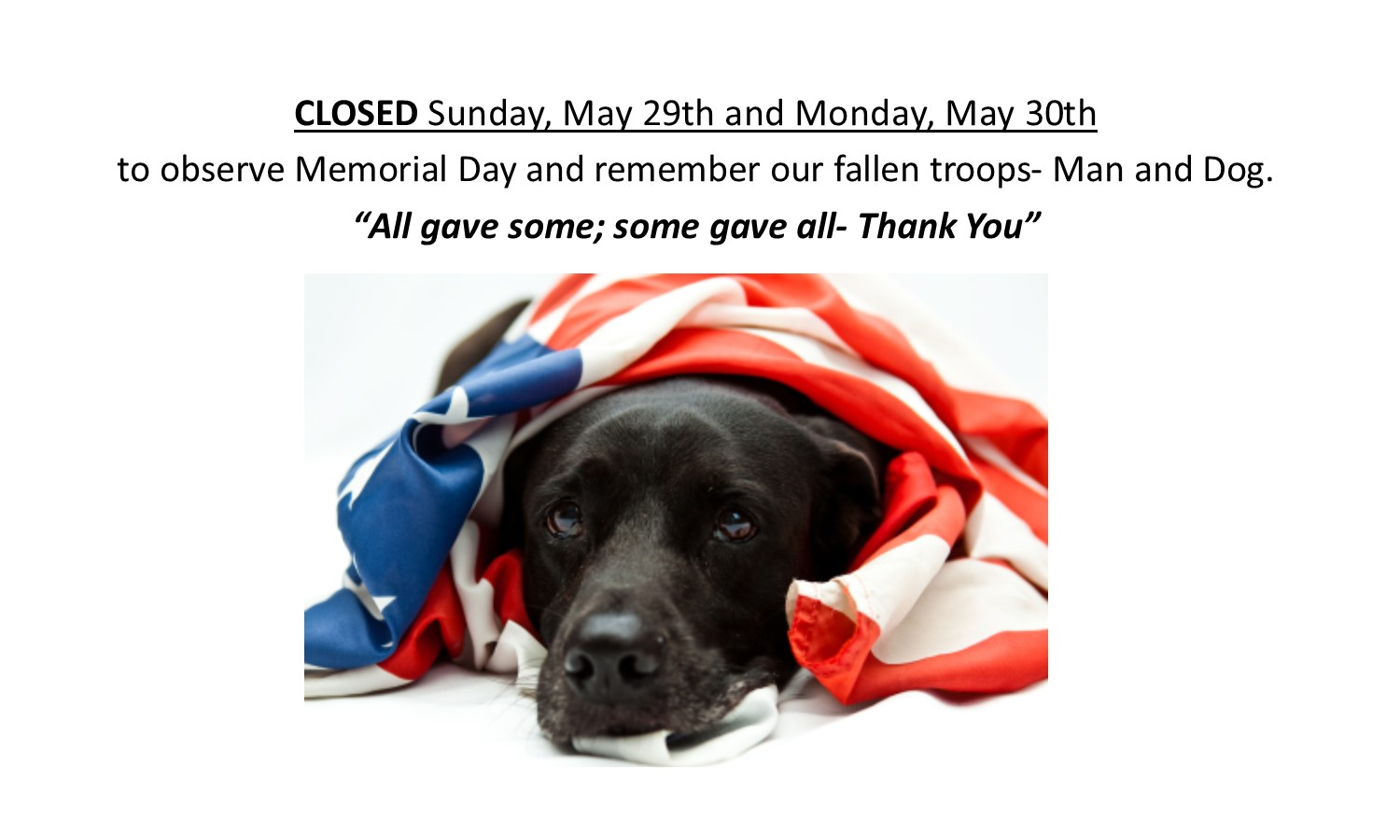 Memorial Day Closed